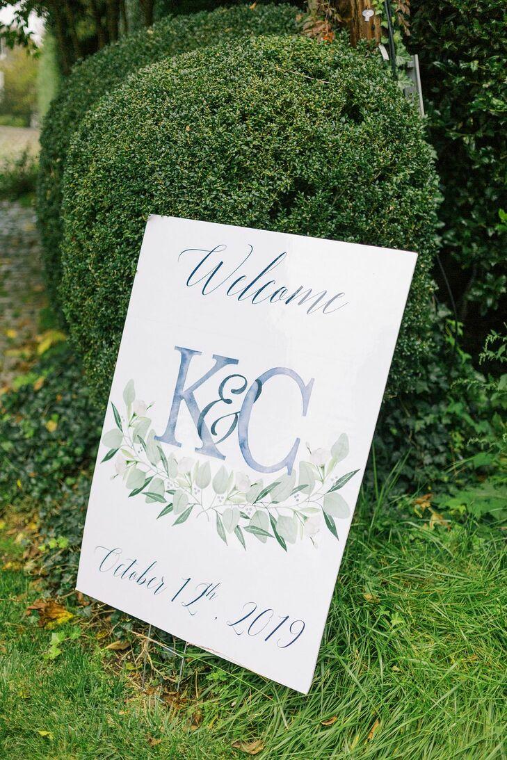 Watercolor Wedding Sign for Martha's Vineyard Wedding