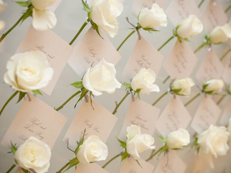 White rose escort card display