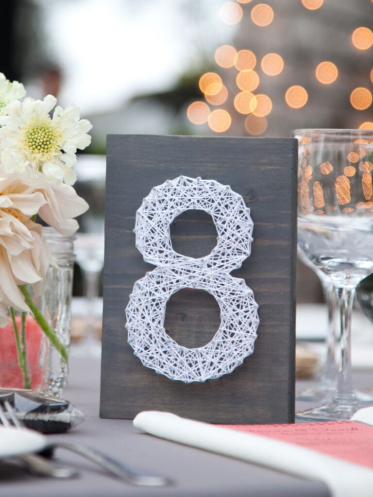 Wooden string art wedding table number