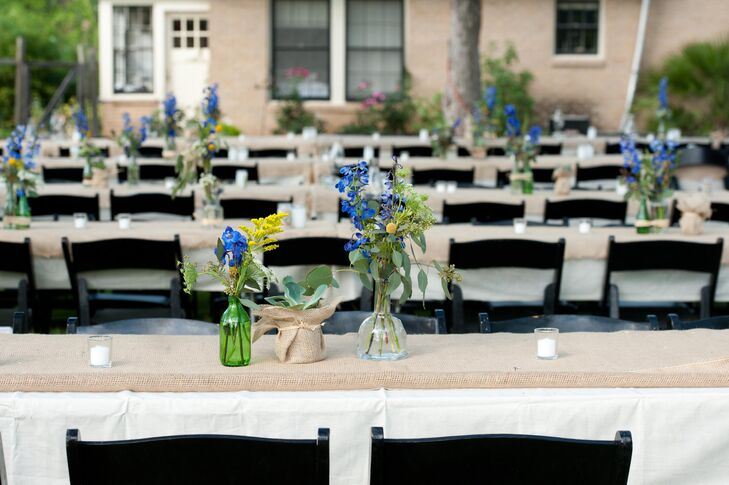 Burlap Wrapped Reception Tables