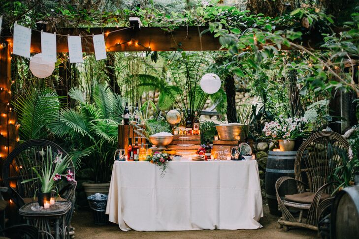 The tropical rum bar, complete with fresh coconut, encouraged guests to mix their own cocktails.