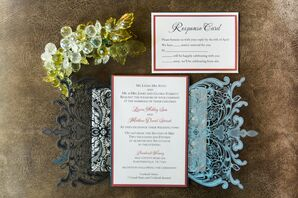 Red and White Detailed Trifold Invitations