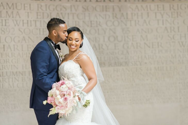 "Siara and Dennis' navy and blush hued wedding blended ""lush, vibrant and glam"" vibes in a perfectly over-the-top way. Starting with ornate blush drapi"