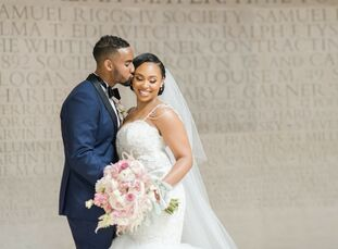 """Siara and Dennis' navy and blush hued wedding blended """"lush, vibrant and glam"""" vibes in a perfectly over-the-top way. Starting with ornate blush drapi"""