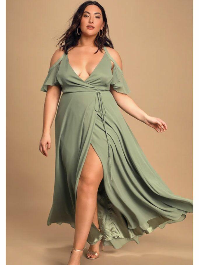 Sage green wrap cottagecore dress with flutter cold shoulders