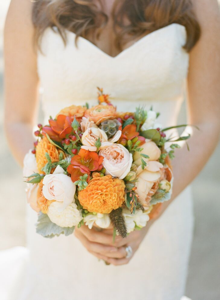 Orange Hued Bridal Bouquet