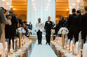 Recessional on Flower-Petal-Lined Aisle