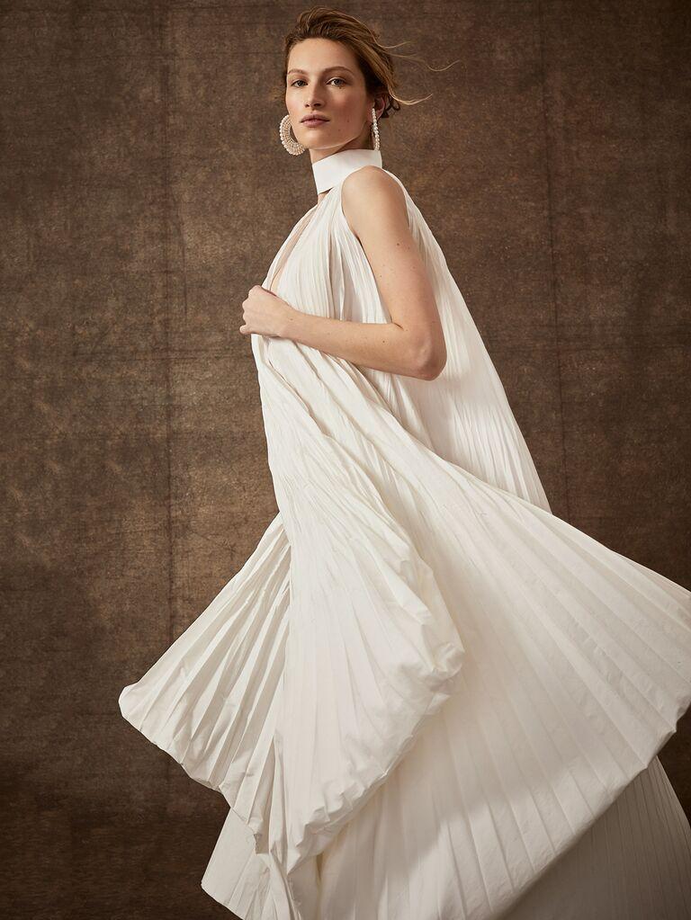 Danielle Frankel Spring 2020 Bridal Collection crimped halter neckline bubble hem wedding dress