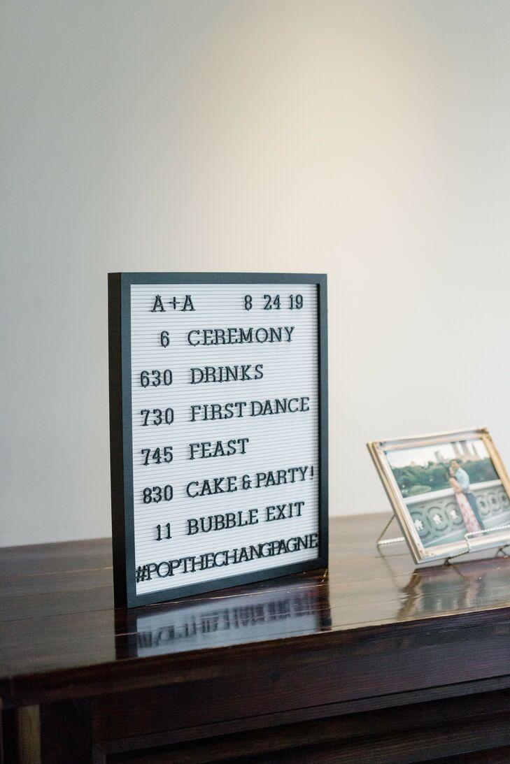 Letterboard Sign for Wedding at Summerour Studio in Atlanta, Georgia