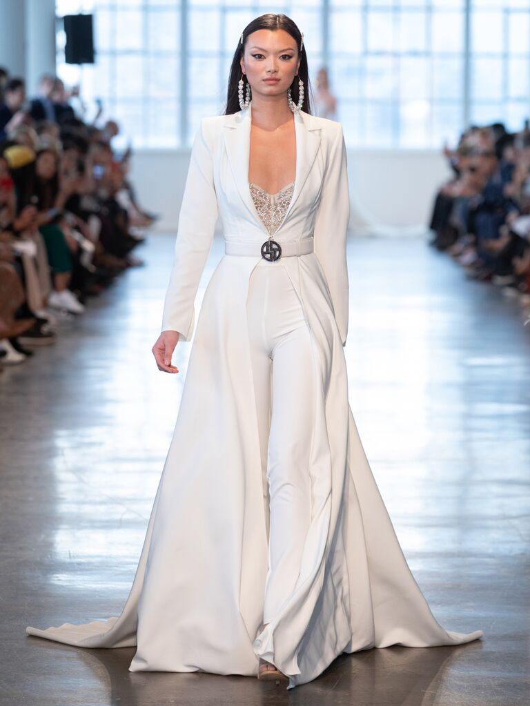 Berta Spring 2020 Bridal Collection bridal look with belted coat