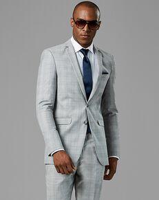 Generation Tux Light Gray Plaid Notch Lapel Suit Gray Tuxedo