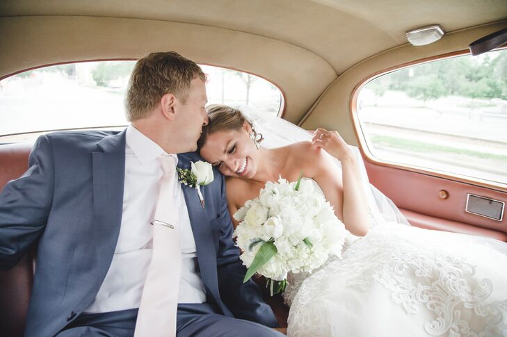 After the church wedding, the couple and their guests moved to the reception at the University of  Missouri, where Tricia studied as an undergrad and where David is pursuing a graduate degree.