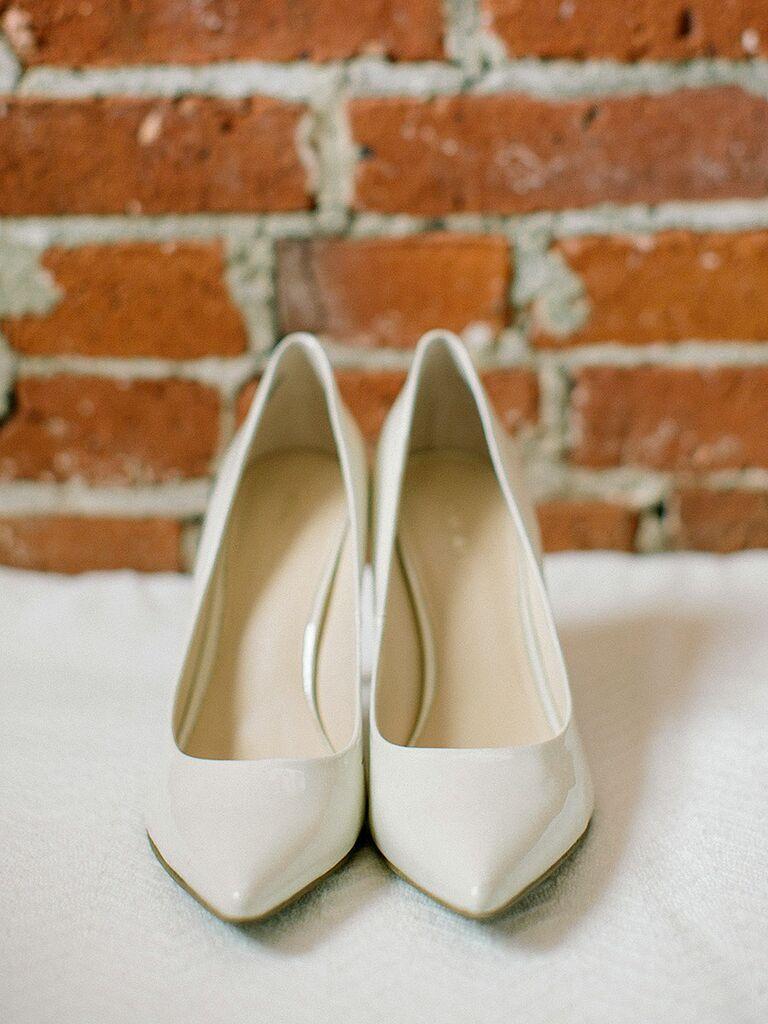 White patent wedding shoe pumps