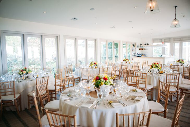 """""""We were looking for a unique space that felt open and airy and had something special about it -- not to mention that the views at The Garrison were so incredible,"""" Lauren says of their venue."""