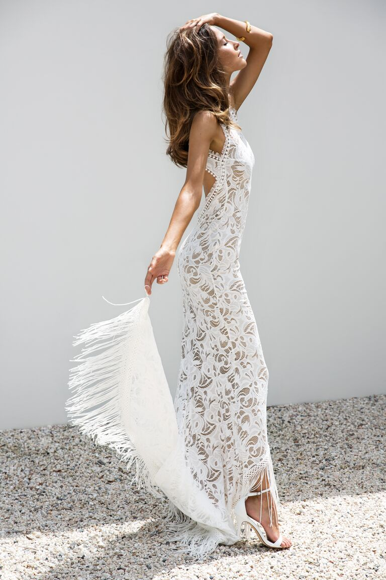 Grace Loves Lace Elixir Collection wedding gown with fringe train