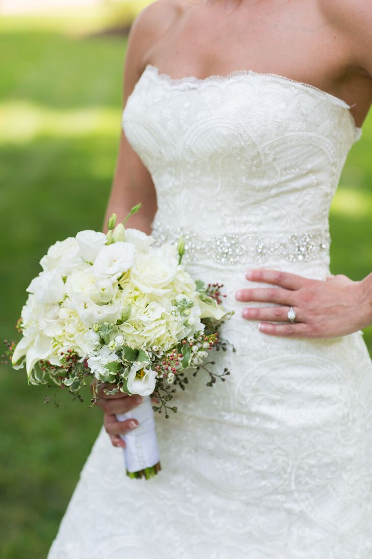 All-White Lisianthus and Hydrangea Bouquet
