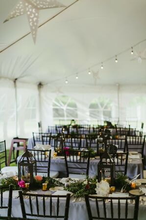 Reception Tables Decorated with Greenery, Blue Linens and Lanterns