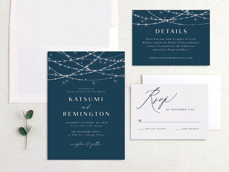 String lights fall wedding invitation set