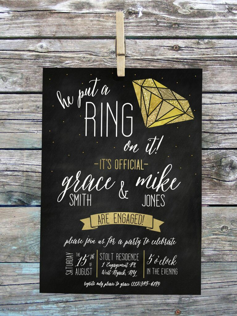 Black and gold engagement party invitation