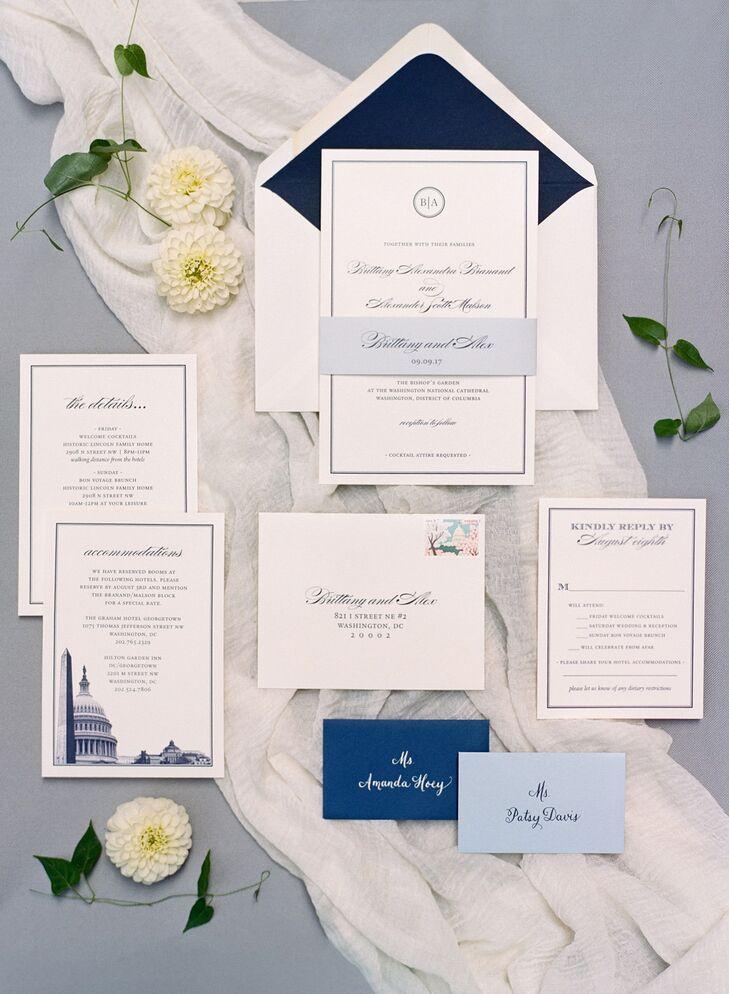 Classic Invitation Suite with Illustration of Washington, DC
