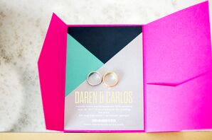 Modern Invitation with Geometric Print and Bright Pink Envelope