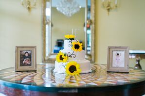 Tiered White Wedding Cake With Sunflowers