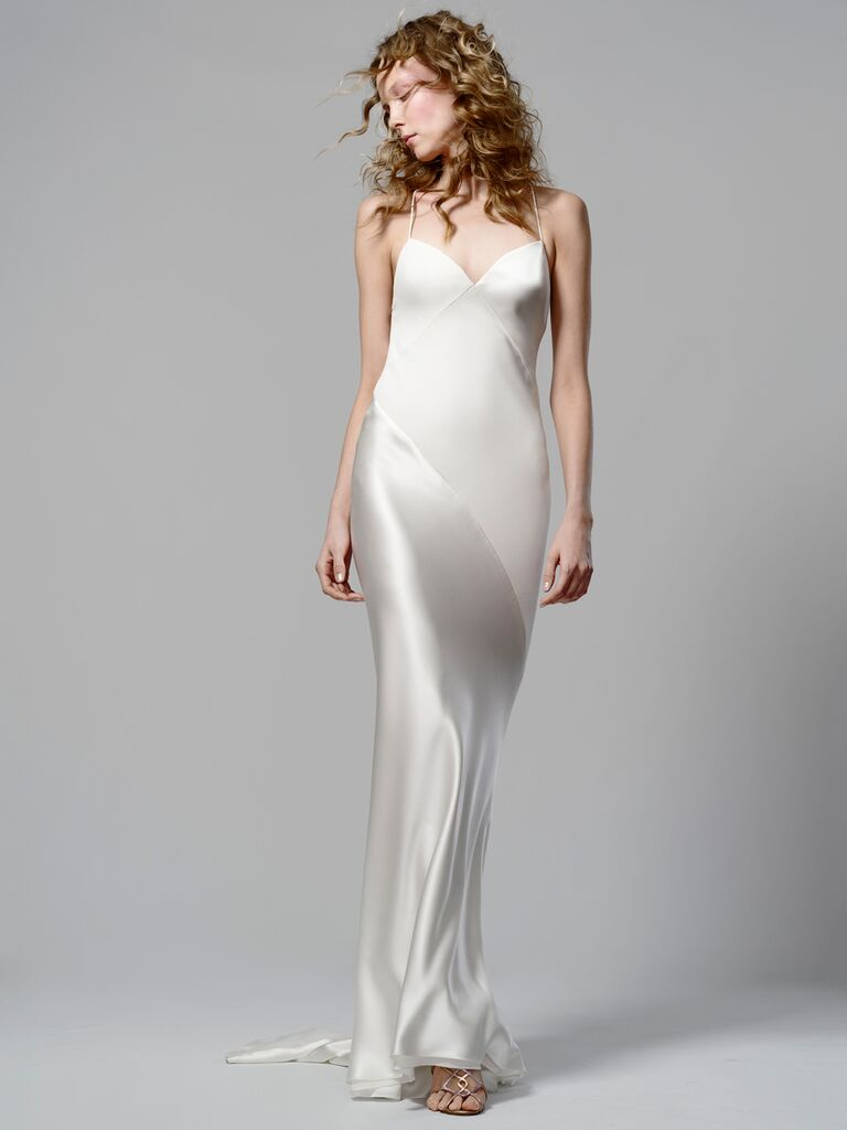 Elizabeth Fillmore Spring 2019 spaghetti-strap wedding dress