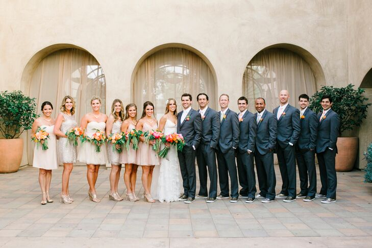 Charcoal and Neutral-Colored Wedding Party Attire