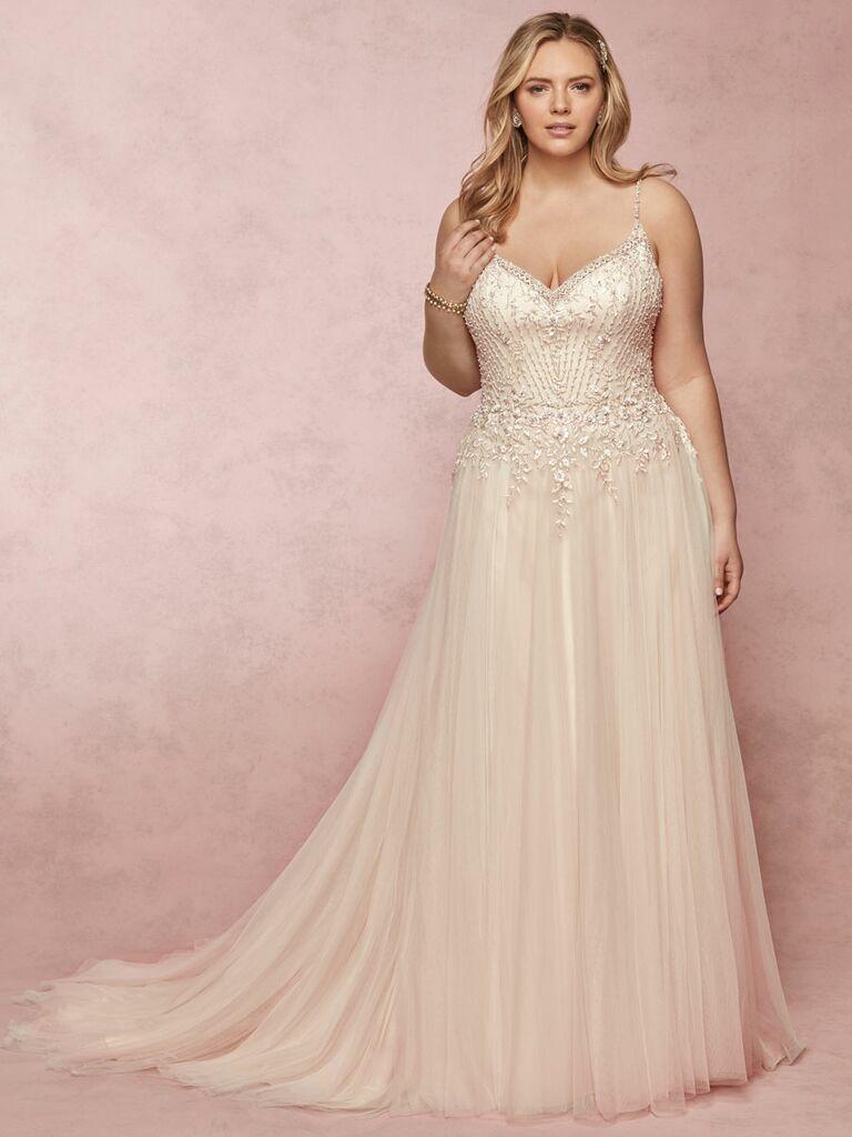 Rebecca Ingram Spring 2019 plus size beaded wedding dress with tulle