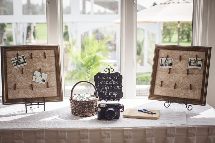 """One of our fun quirky things we added is that we had a polaroid camera out for guests to take pictures and caption their photos,"" Erika says. ""We used that as our guest book and the results were hilarious. The later into the night the more creative people got. The wedding party all had a great time looking through them the next morning at breakfast."""