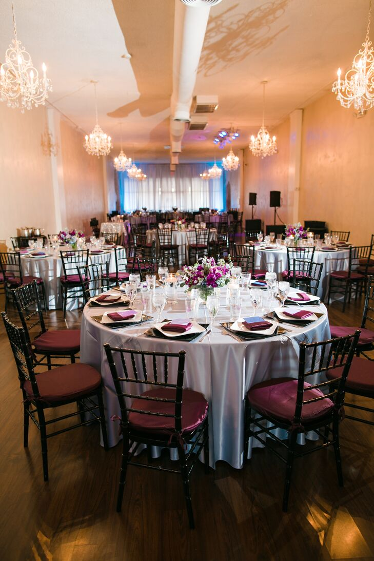 """The reception at Tre Bella maintained the simple yet elegant wedding style. For the decor, """"we picked various shades of dark blues, dusty purples, grays and blacks, so we weren't stuck with one color scheme,"""" Jill says."""