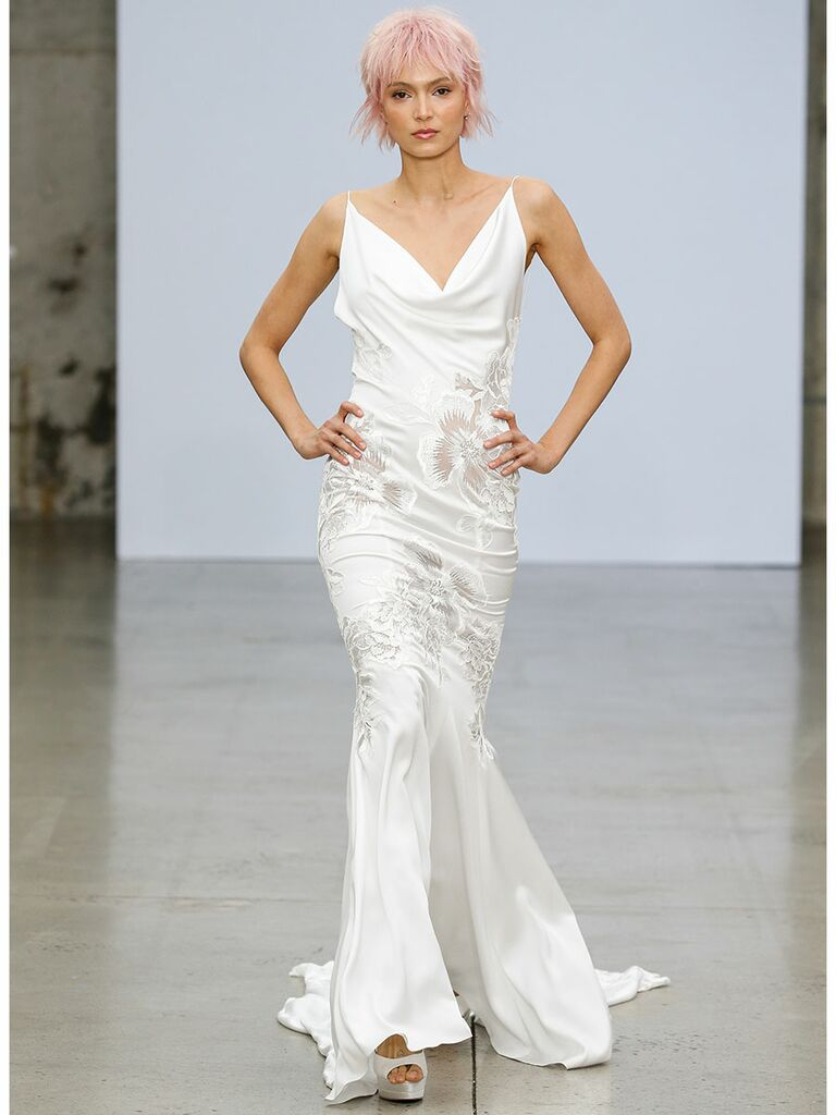 Pnina Tournai wedding dress v-neck slip dress