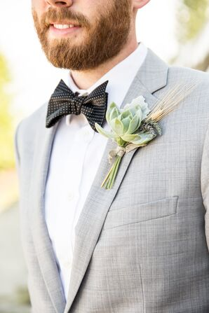 Succulent and Wheat Boutonniere