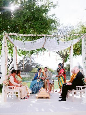 Indian Wedding Ceremony Under Mandap at UC Berkeley Stadium in Berkeley, California
