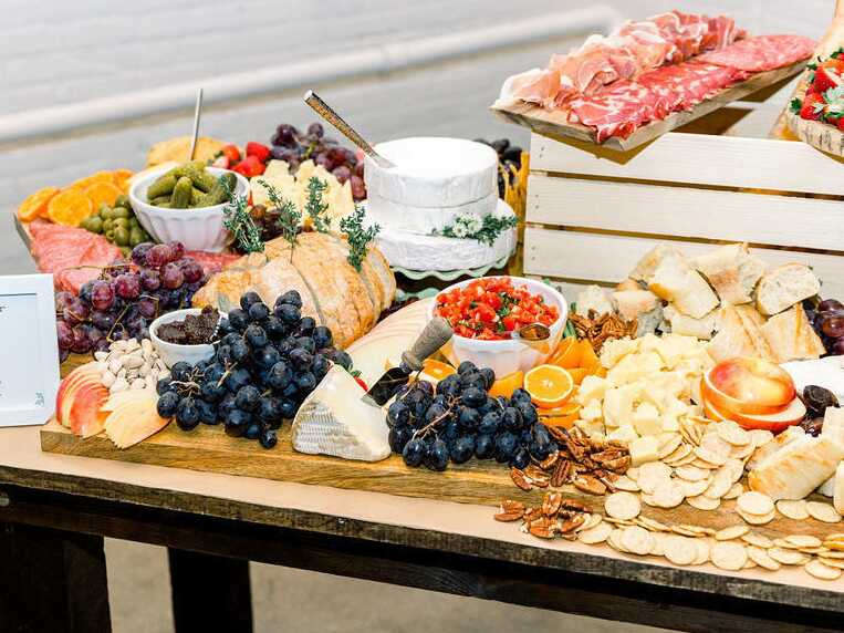 Large spread with charcuterie and cheese boards