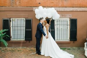 Couple Portraits with Balloons at the Kimpton Brice Hotel in Savannah, Georgia