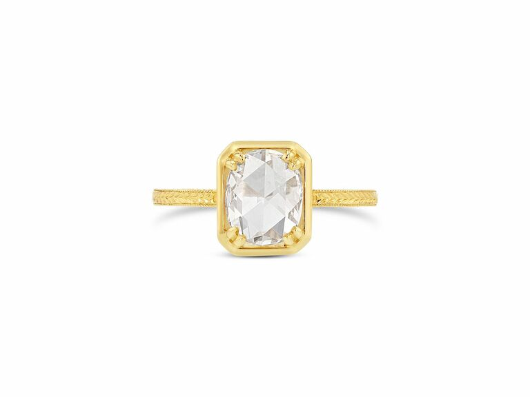 Oval Rose-Cut Diamond Octagonal Bezel ring with engraved band,
