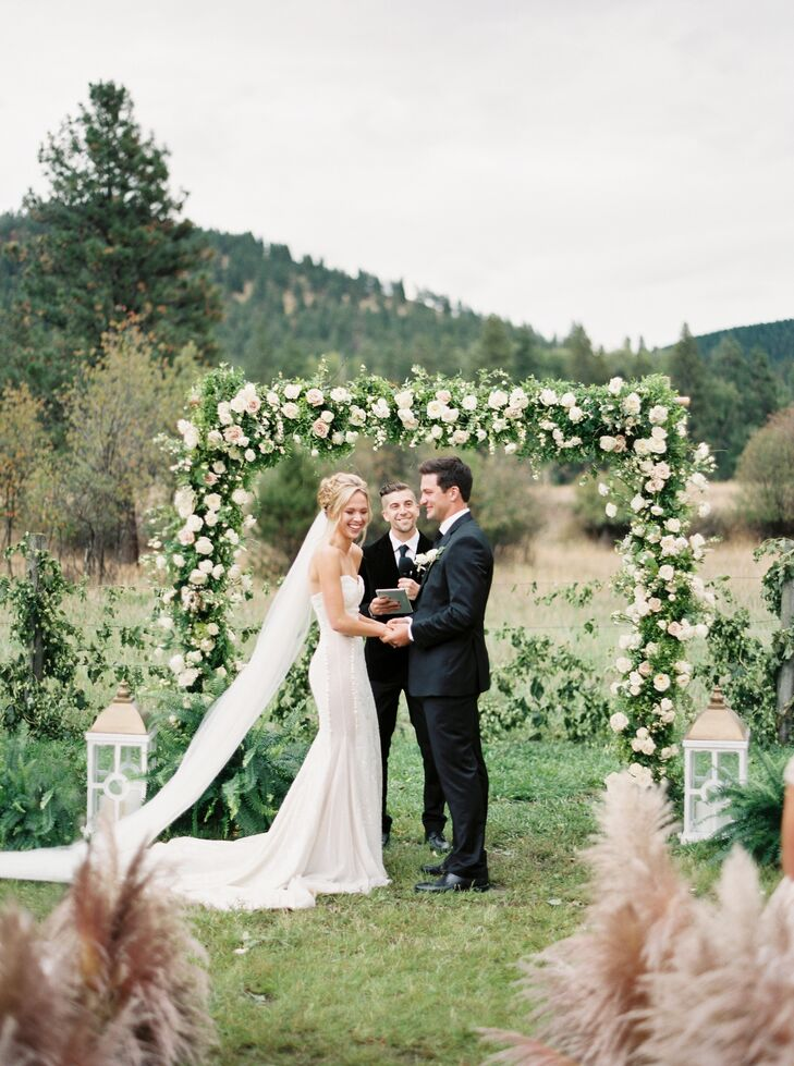 """Brandon's favorite memory from their wedding day was seeing Morgan walk down the aisle with her dad. """"She and her dad have such a special relationship, she looked unbelievably beautiful, and it just suddenly all became real that I was seeing my almost-wife walking toward me,"""" he says."""