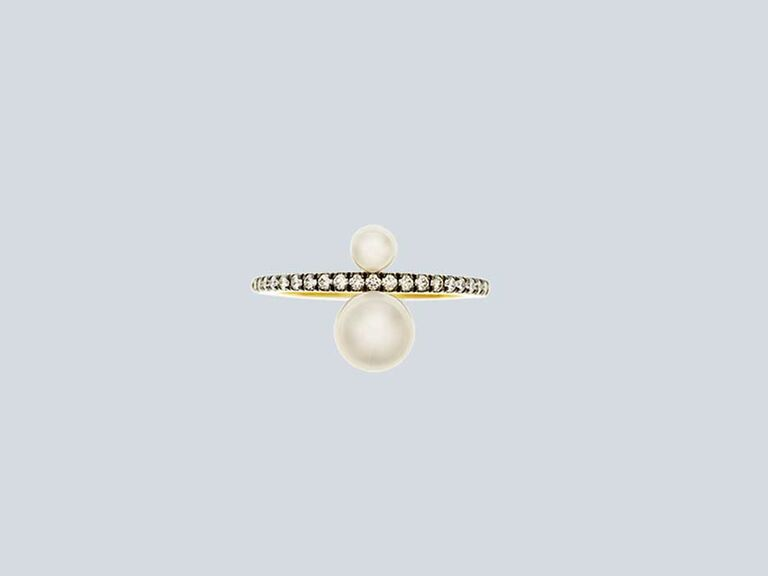 Pearl toi et moi engagement ring with encrusted black rhodium band