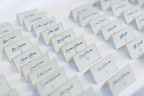 Blue and Gold Hand-Lettered Escort Cards