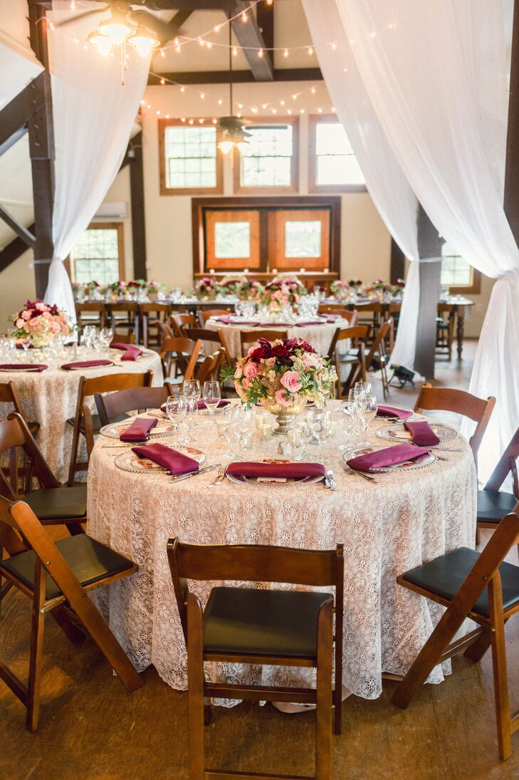 Reception With White Draping String Lights And Lace Tablecloths