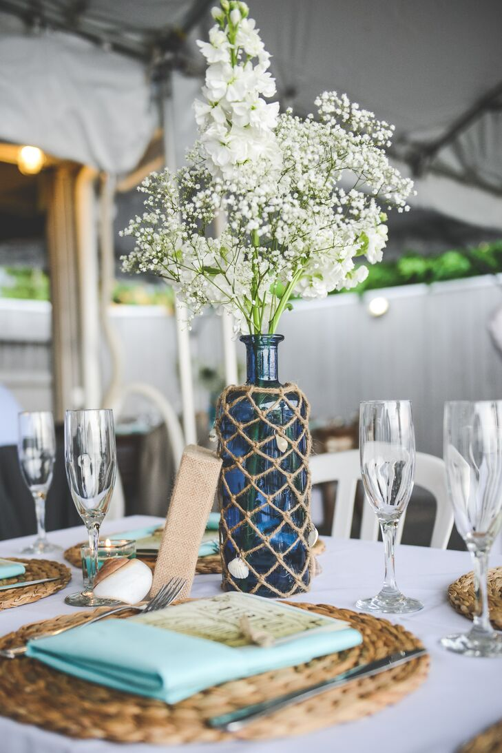 Blue Glass and Baby's Breath Centerpiece
