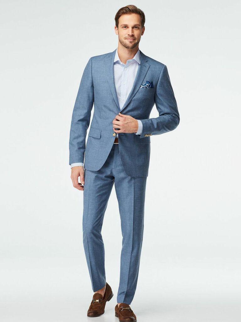 wool linen light blue suit