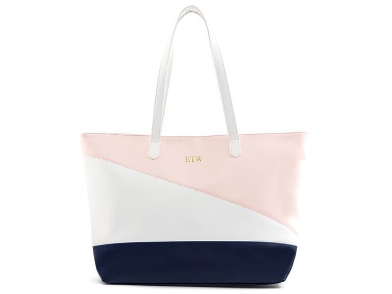 Pink navy and white tote
