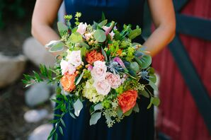 Colorful Carnation, Thistle and Eucalyptus Bouquet