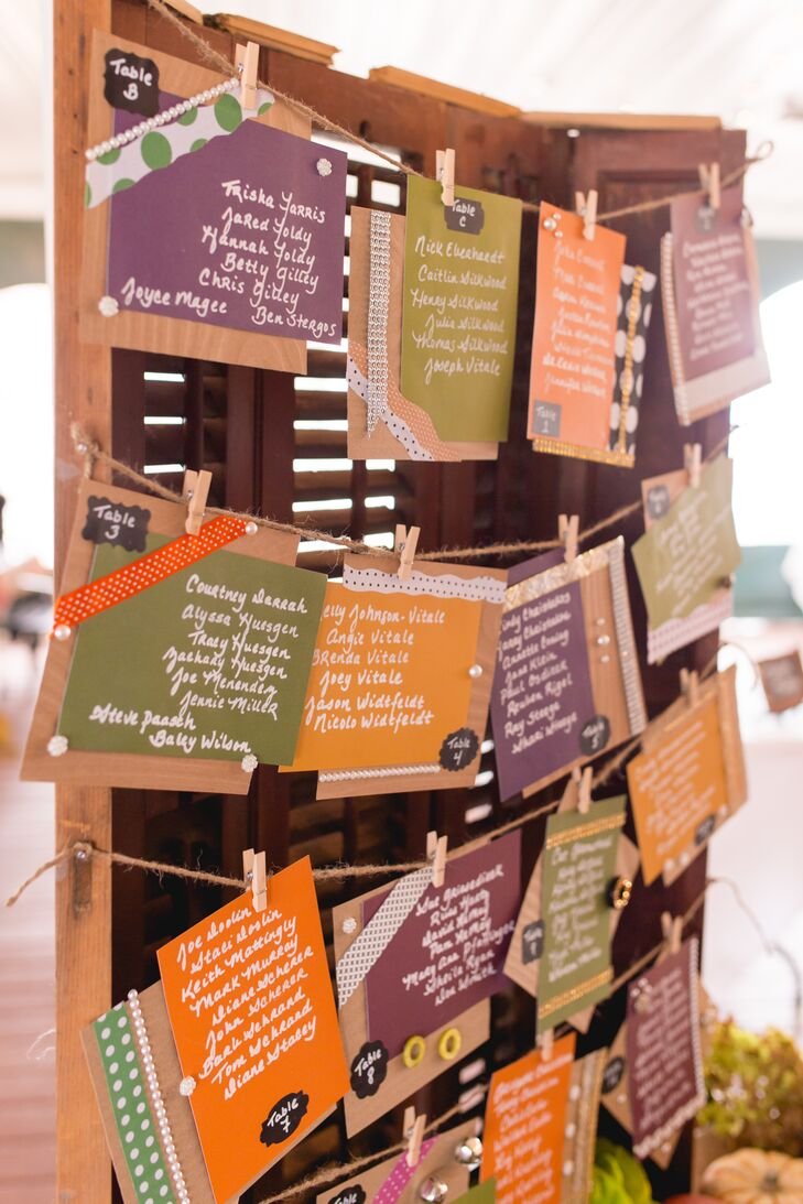 Handwritten Seating Chart in Fall Colors