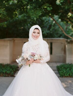 Muslim Bride in White Hijab at the Kansas City Convention Center in Missouri