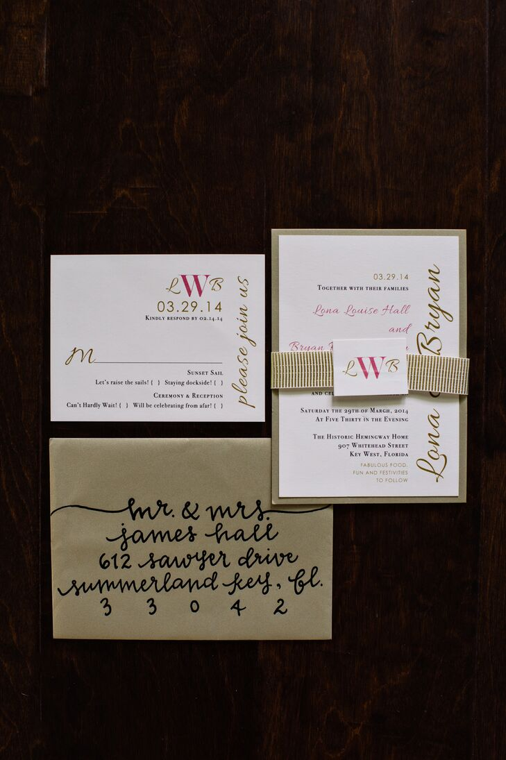 Beacon Lane created gold, white and pink wedding invitations complete with metallic envelopes and a monogrammed gold ribbon. Manayunk Calligraphy addressed the outer envelops in a very funky style of modern calligraphy.
