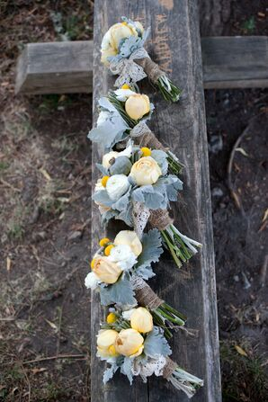 Yellow and White Bridesmaid Bouquets