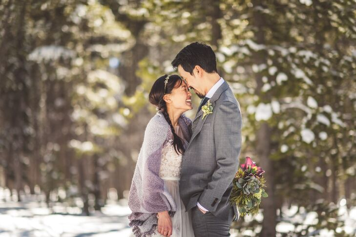"""I wanted something fun and easy going for our dogsledding adventure but special for the day and for Simon,"" Tuyen says. She found her dress at BHLDN in Massachusetts, and loved how carefree and whimsical it was, plus, she knew it would hold up in the snow."